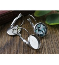 ( No Fade ) 10mm 10pcs Stainless Steel French Lever Back Earrings Blank/Base,Fit 10mm Glass Cabochons,Buttons;M3-01