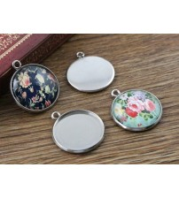 ( No Fade ) 10pcs 20mm Inner Size Stainless Steel Material Simple Style Cabochon Base Cameo Setting Charms Pendant Tray (D3-31)
