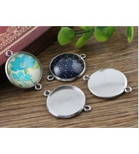 ( No Fade ) 10pcs 20mm Inner Size Stainless Steel Material Simple Style Cabochon Base Cameo Setting Charms Pendant Tray (D3-36)