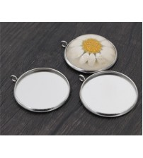 ( No Fade ) 10pcs 25mm Inner Size Stainless Steel Material Simple Style Cabochon Base Cameo Setting Charms Pendant Tray-D4-52