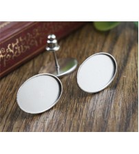 ( No Fade ) 10x14mm 20pcs/Lot 316 Stainless Steel Oval Earring Studs,Earrings Blank/Base,Fit 10*14mm Oval Glass Cabochons-T7-27