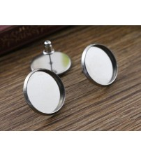 ( No Fade ) 16mm 20pcs/lots Stainless Steel Earring Studs,Earrings Blank/Base,Fit 16mm Glass Cabochons,Buttons-M4-32