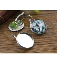 ( No Fade ) 20mm 10pcs Stainless Steel French Lever Back Earrings Blank/Base,fit 20mm glass cabochons,buttons; (L5-19)
