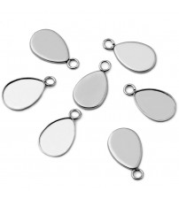 ( No Fade ) 20pcs 10x14mm Inner Size Stainless Steel Material Drop Style Cabochon Base Cameo Setting Pendant Tray