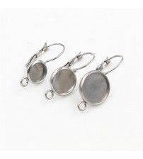 ( No Fade ) 8mm 10mm 10pcs Stainless Steel one Loop French Lever Back Earrings Blank/Base,Fit 8mm 10mm Glass Cabochons