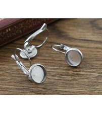 ( No Fade ) 8mm 10pcs Stainless Steel French Lever Back Earrings Blank/Base,Fit 8mm Glass Cabochons,Buttons;(M4-02)
