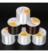 0.5-1.0MM DIY Crystal Beading Stretch Cord Elastic Line,Transparent/Brown Round Beading Wire/Cord/String/Thread Jewelry Making