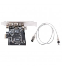 1 Set PCI-e 1X IEEE 1394A 4 Port(3+1) Firewire Card Adapter With 6 Pin To 4 Pin IEEE 1394 Cable For Desktop PC