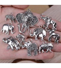10 Pieces Mixed Elephant Antique Silver Pendant  DIY Jewelry Making Accessories