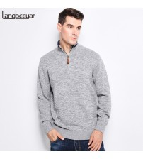 Knitted Sweater Stand Collar With Zipper Slim Fit Pullover