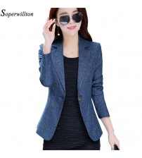 Long Sleeve One Button Suit Blazer