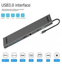 11 in 1 HUB 4K USB Type-C to USB 3.0 TF HDMI VGA RJ45 Mini DP Docking Station For Macbook For Huawei Samsung Xiaomi