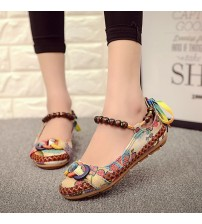 Beaded Ankle Straps Loafers Shoes