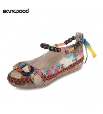 Ethnic Lace Up Beading Round Toe Comfortable Flats
