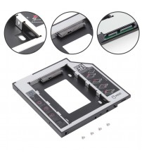 12.7mm 2nd HDD Caddy Aluminum Optibay SATA 3.0 Hard Disk Drive Box Enclosure DVD Adapter 2.5 SSD 2TB for Laptop CD-ROM