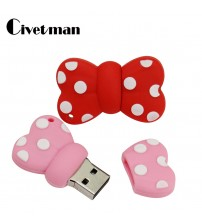 128GB USB Flash Drive Cartoon Cat Bowknot Pen Drive 4GB 8GB 16GB 32GB 64GB Flash Memory Stick Pink Bowknots External Storage