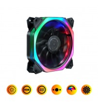 12CM Rainbow Lights PC Computer Fan 16dB Ultra Silent 15 LEDs Case Fan Heatsink Cooler Cooling Anti-Vibration Rubber 12VDC