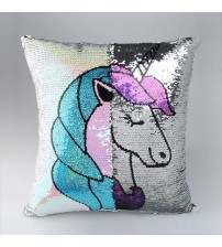 Mermaid Sequin Unicorn Cushion Cover