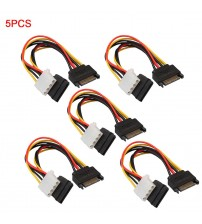 15Pin SATA Male to 4Pin IDE Molex Female + 15Pin SATA Female Power Cable