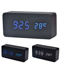 1PC Wooden LED Alarm Clock with Temperature Sounds Control Calendar LED Display Electronic Desktop Digital Table Clocks New