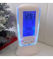 1pc LED Digital Alarm Clock with Blue Backlight Electronic Calendar Thermometer Gift Desk LCD Clock Home Table Desk Decoration