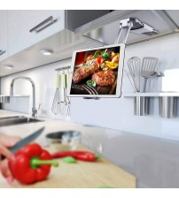 2 in 1 Kitchen Tablet Stand IPad Wall Mount Under Cabinet Holder Office Desktop Mount Recipe Holder Stand for 4.3 to 10.5 inch