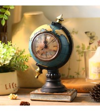 2018 Hot Sale Electronic Desk Clock Desktop Sitting Room Globe Pendulum Antique Style Needle 3\