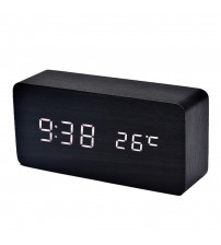 2018 Wooden LED Alarm Clock with Temperature Sounds Control Calendar LED Display Electronic Desktop Digital Table Clocks New