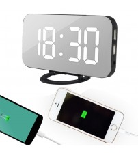 2019 New Electronic LED Digital Desktop Decoration Clock with Dual USB Port for Phone, Automatically Adjust the Brightness