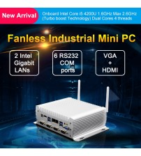24 Hours Industrial Fanless Mini PC i7 i5 J1900 Win 10 Pro Linux 2*Intel Lans RS232/485 COM HDMI VGA USB WiFi Watch Dog 3G/4G