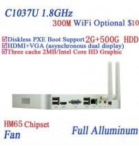 2G RAM 500G HDD Popular mini computer Celeron C1037U aluminum dual core living room HTPC mini pc with USB *4 HDMI 1 RJ45