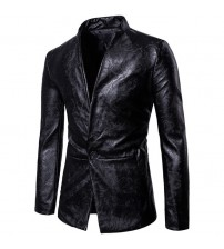 Gothic Style Wash Leather DesignS olid Color Blazers