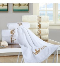 1PC Embroidered 100% Cotton Luxury Bath Towel Adult