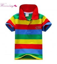 Boys Multi Color Short Sleeve Striped Cotton Tops