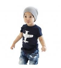 Boy Cotton Aircraft Pattern Shirt Tops