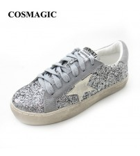 Woman Glitter Star Casual Shoe Flat