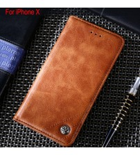 iPhone X Leather Flip Cover