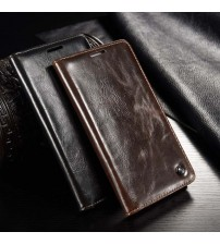 Magnetic Genuine Leather Window Flip Case