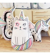 Unicorn Cat  Ice Cream Rainbow Pillow