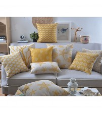 Linen Pillow Yellow Palm Tree Starfish Cushion