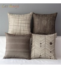 Fashionable Brown Simple Cotton Linen Cushion