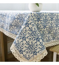Retro Blue And White Table Cloth With Lace