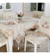 Hot Elegant Polyester Satin Embroidery Floral Tablecloths