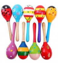 Colorful Wooden Maracas Baby Musical Instrument