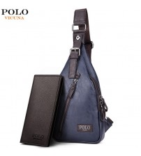 Magnetic Button Open Leather Men's Chest Bags