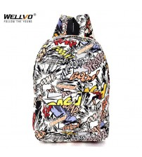 Graffiti Canvas Backpack Students School Bag