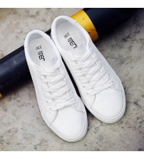 Woman Flat PU Leather Shoes Board Sneakers