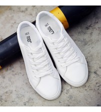 Lace-up Shoes Woman PU Leather Solid Color
