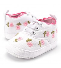 Baby Girl Shoes White Lace Floral Embroidered