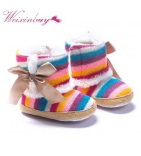 Baby Rainbow Wool Cotton Padded Shoes Boots